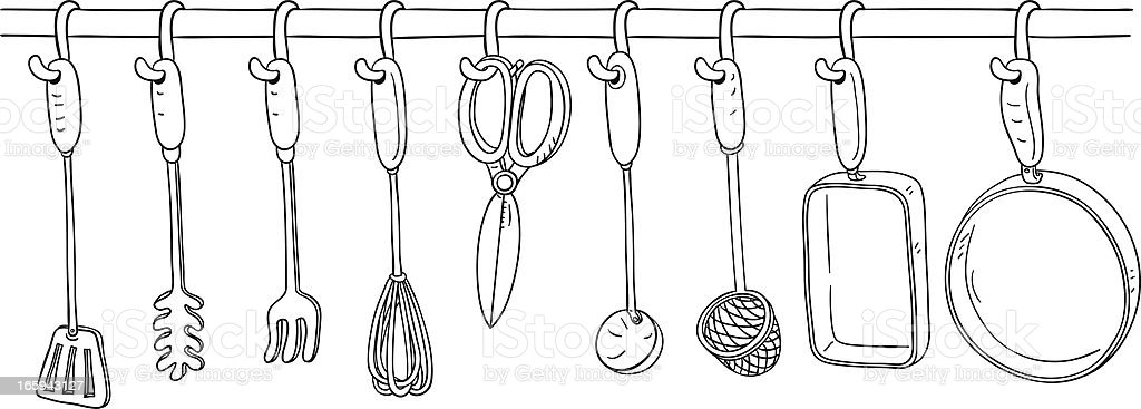 Kitchen Utensil collection in Black and White vector art illustration