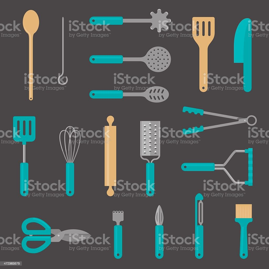 Kitchen Utensil Flat Icons vector art illustration