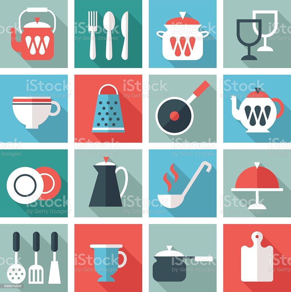 kitchen utensil icons vector art illustration