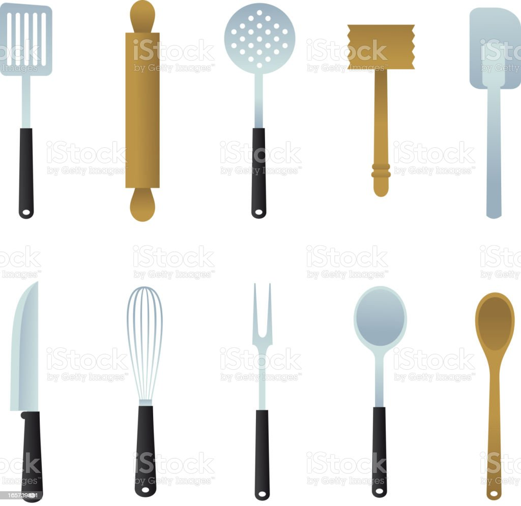Kitchen Utensil ladle, potato masher, spatula, skimmer, whisk, fork, knife vector art illustration