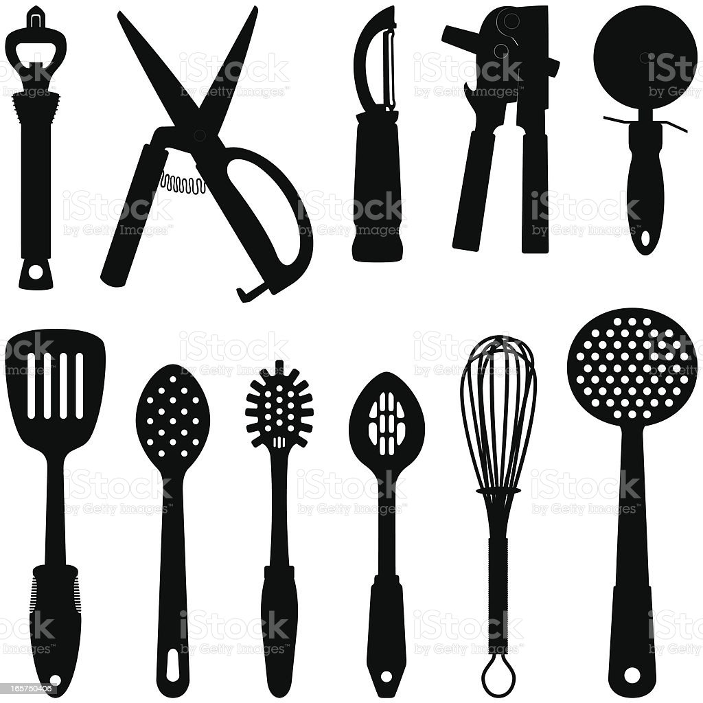 Kitchen Utensil Silhouettes royalty-free stock vector art