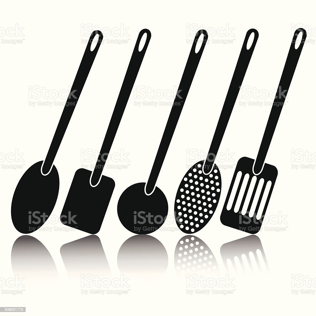 kitchen utensil silhouettes vector art illustration
