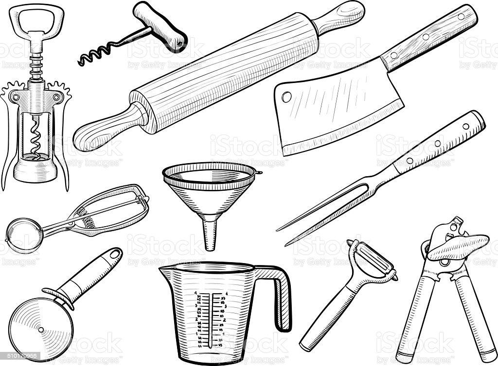 Kitchen utensil sketches vector art illustration