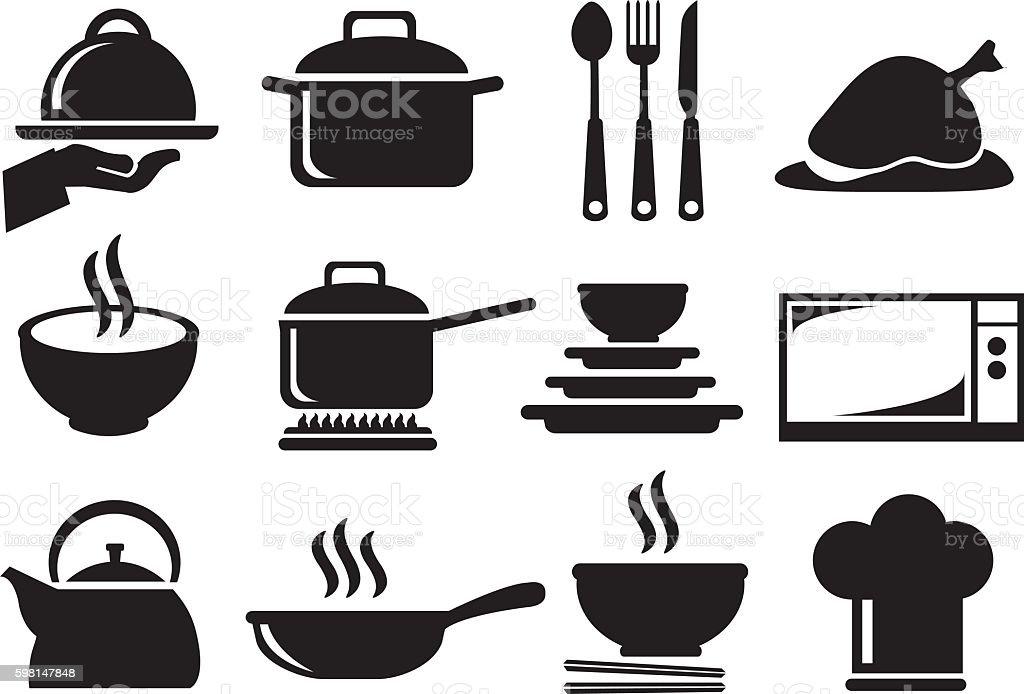 Kitchen Utensil Vector Icon Set vector art illustration