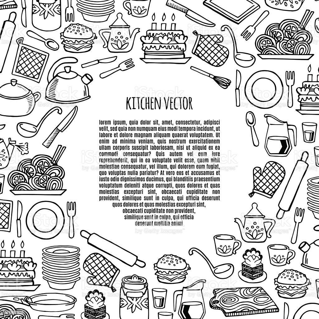Kitchen utensils and appliance banner vector. vector art illustration