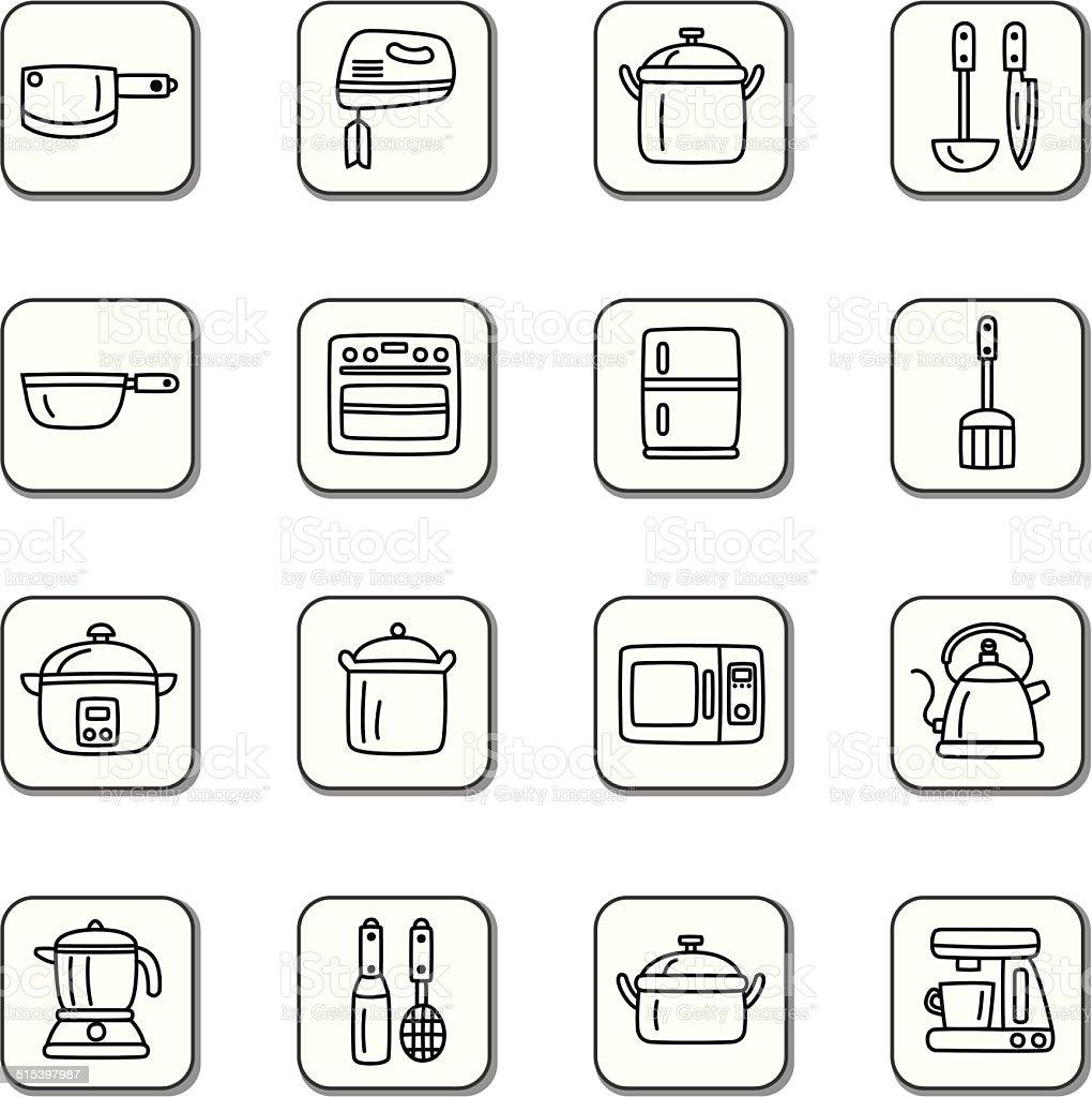 Kitchen Utensils and Appliances Doodle Icons vector art illustration