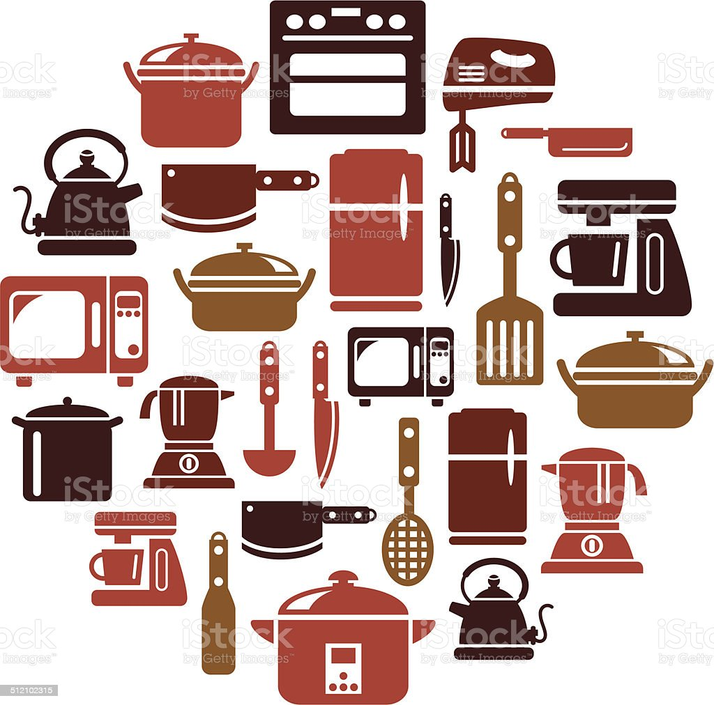 Kitchen Utensils and Appliances Icons in Circle Shape vector art illustration