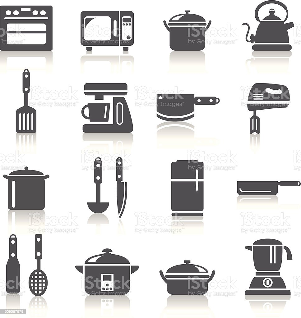 Kitchen Utensils and Appliances Icons vector art illustration