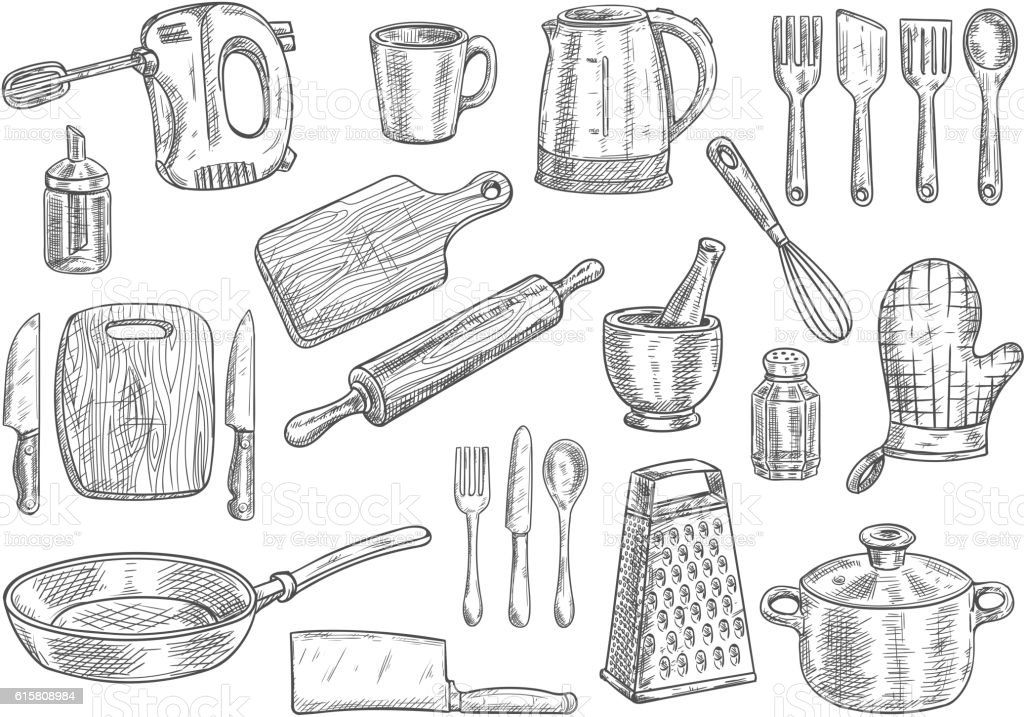 Kitchen utensils and appliances isolated sketches vector art illustration