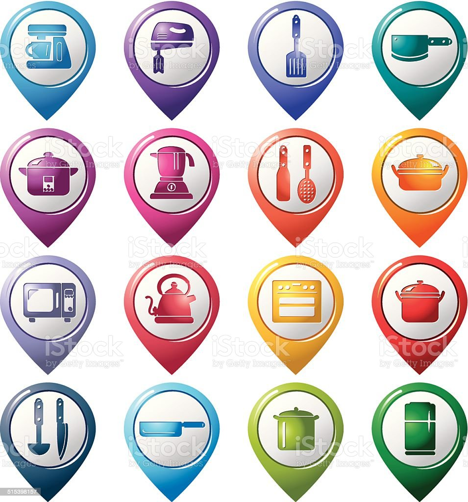 Kitchen Utensils and Appliances Pointer Icons vector art illustration