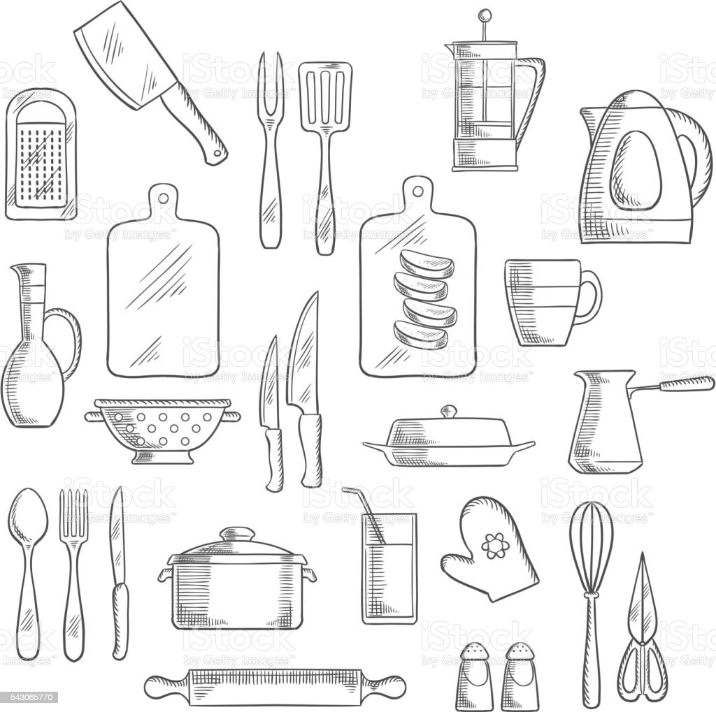 Kitchen utensils and appliances sketches vector art illustration