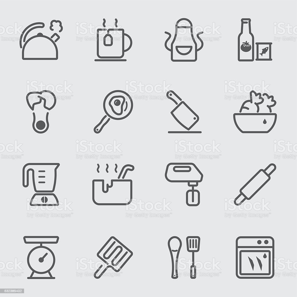 Kitchen Utensils and Cooking line icon 2 vector art illustration