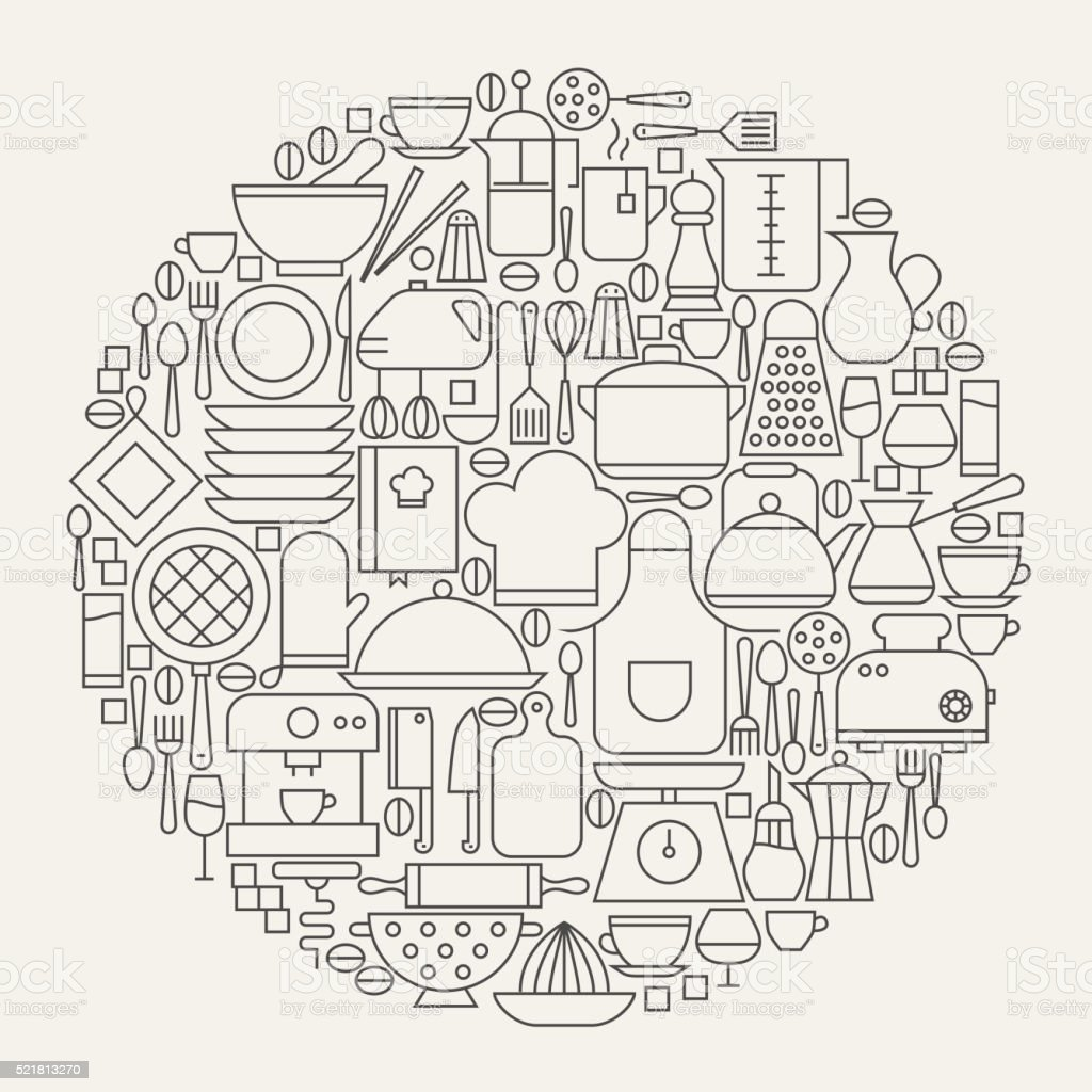 Kitchen Utensils and Cooking Line Icons Set Circle Shape vector art illustration
