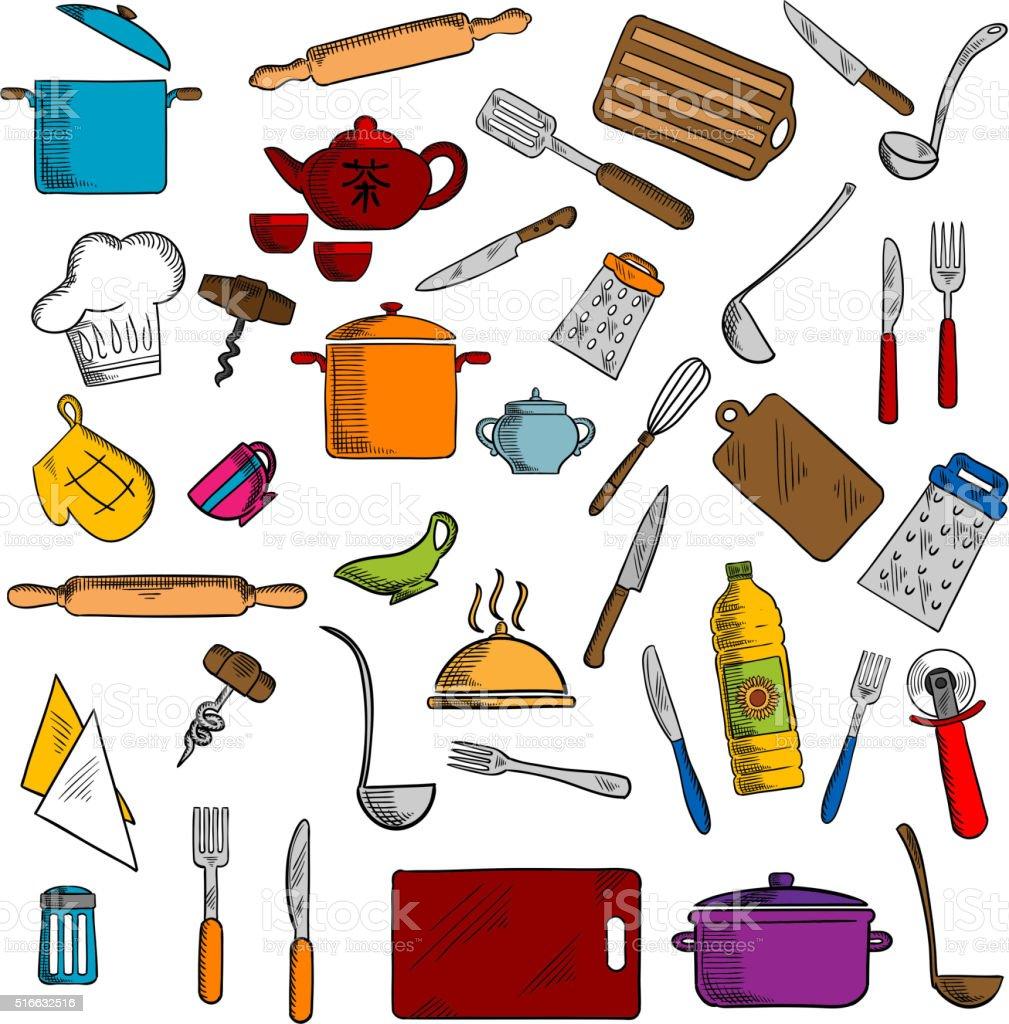Kitchen Utensils Art kitchen utensils and kitchenware icons stock vector art 516632516