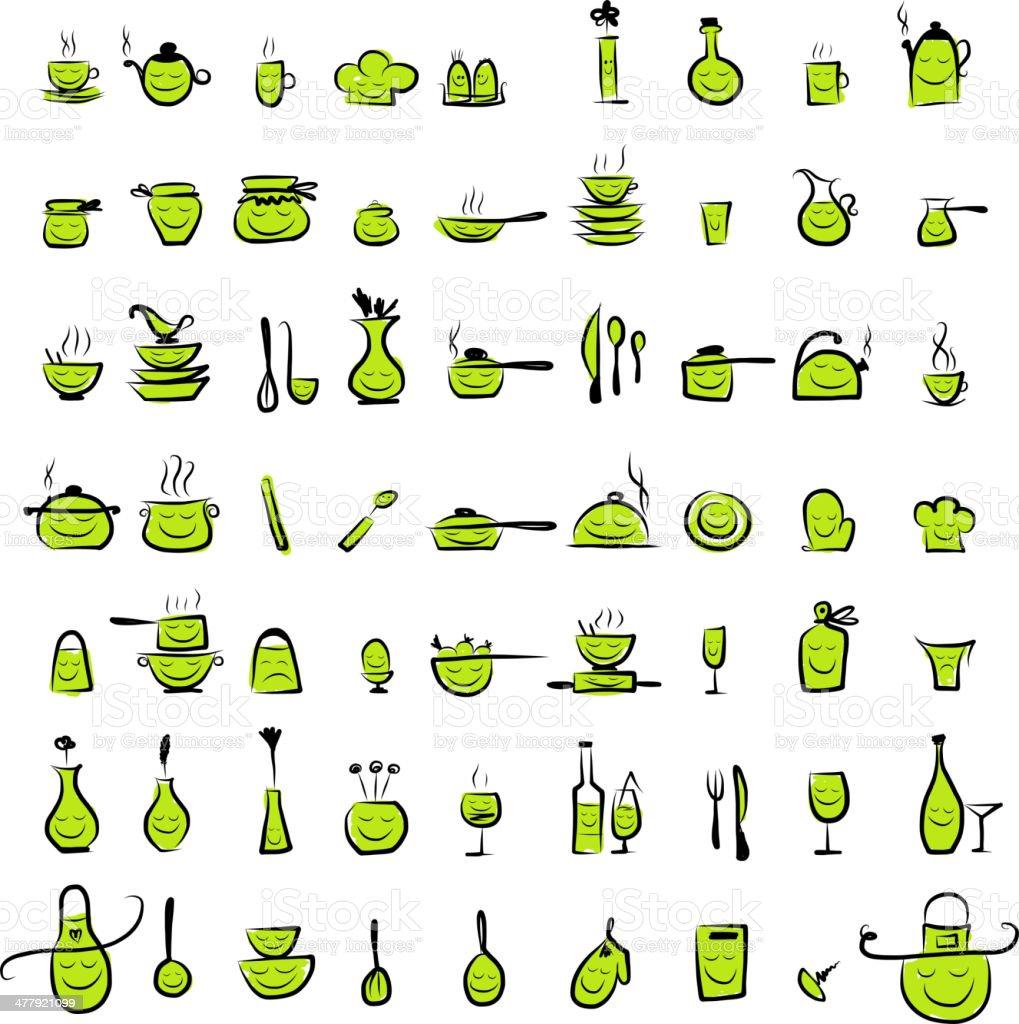 caratteri di utensili da cucina schizzo di disegno di icone per il ... - Arnesi Da Cucina