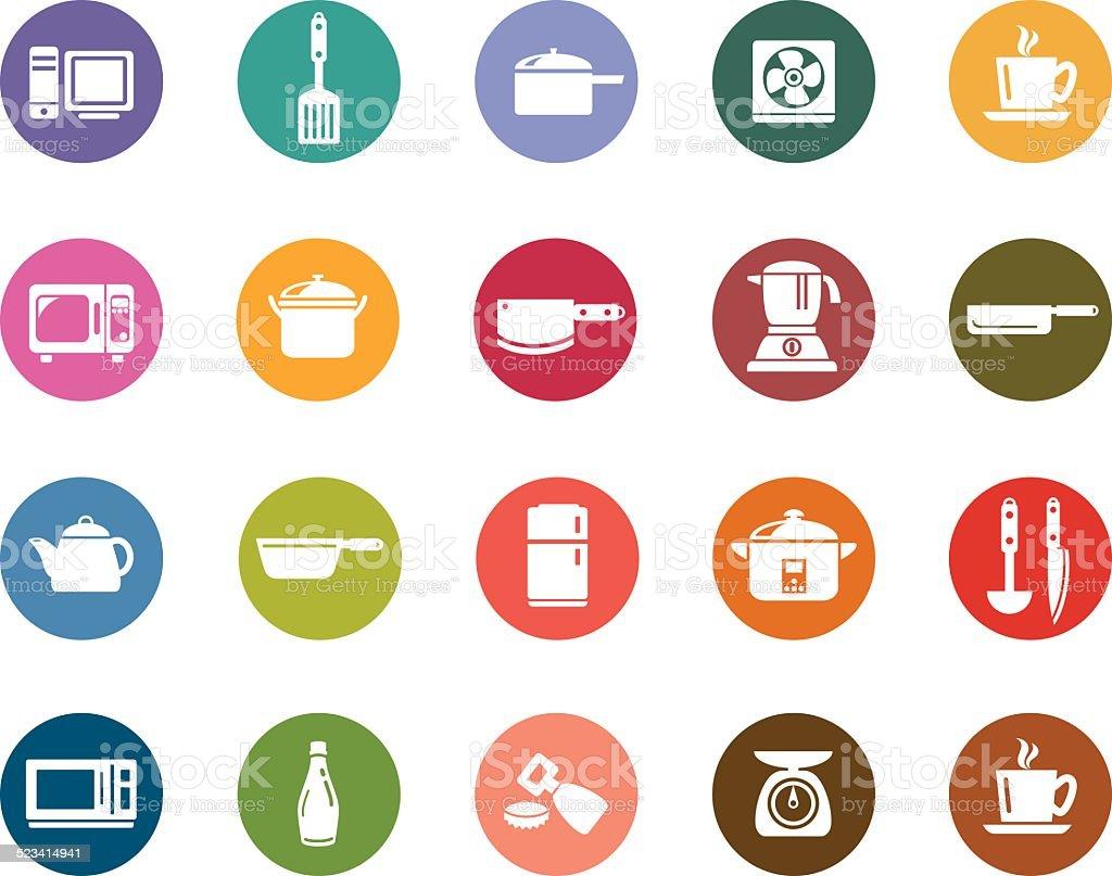 Kitchen Utensils Art kitchen utensils color icons stock vector art 523414941 | istock