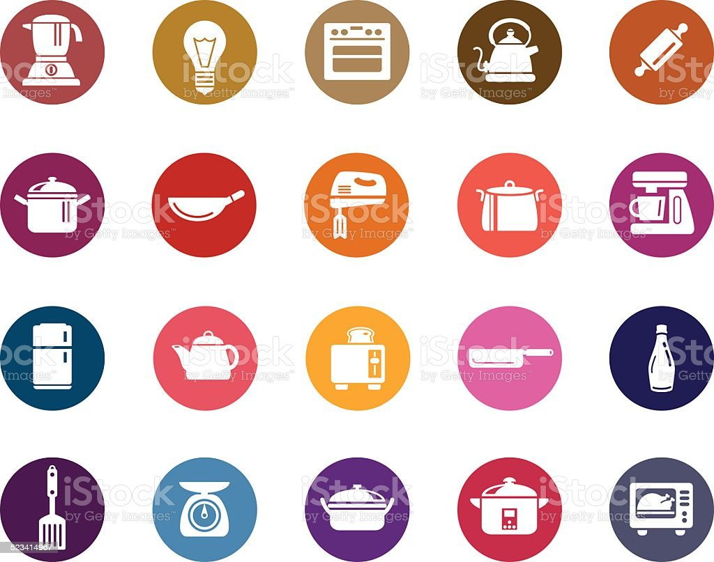 Kitchen Utensils Color Icons vector art illustration
