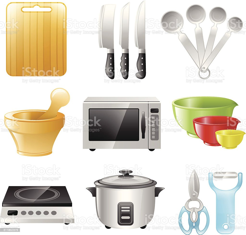 Kitchen Utensils, Cooking, Restaurant vector art illustration