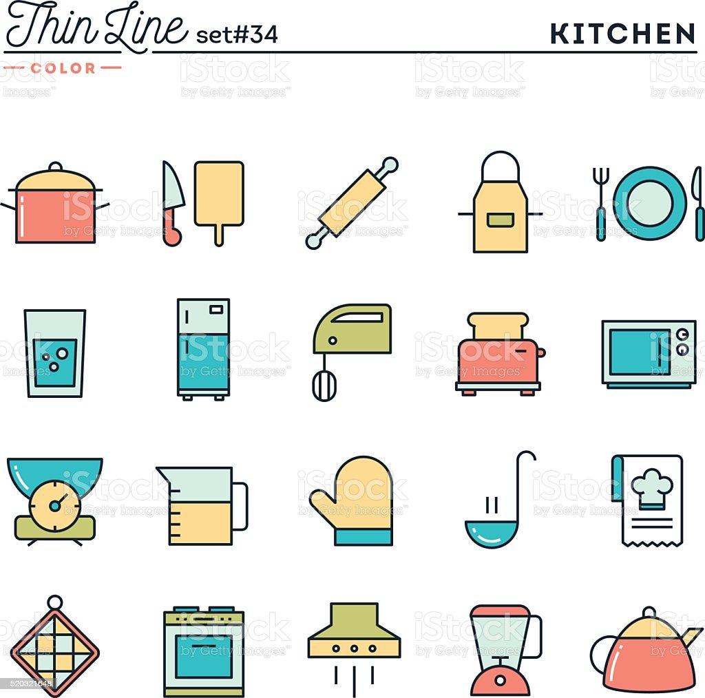 utensili da cucina legate a preparazione del cibo e pi sottile linea di icone di
