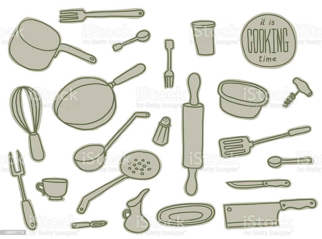Kitchen Utensils grey set vector art illustration