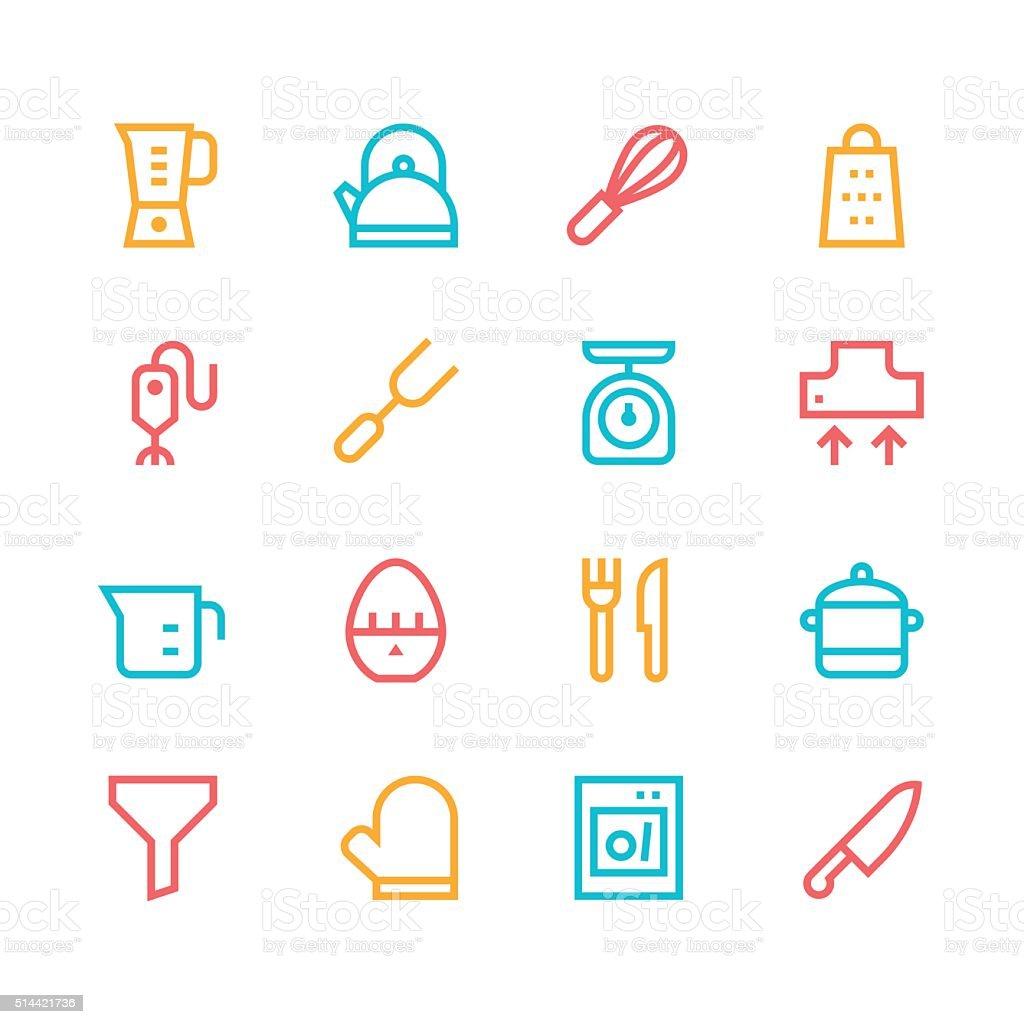 kitchen utensils icons line set 1 color series stock vector art kitchen utensils icons line set 1 color series royalty free stock vector