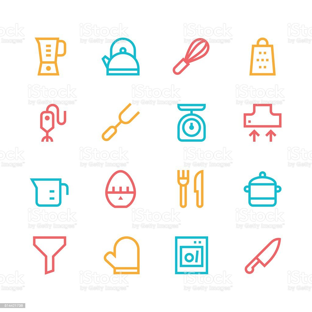 Kitchen utensils icons - line | set 1 - color series vector art illustration