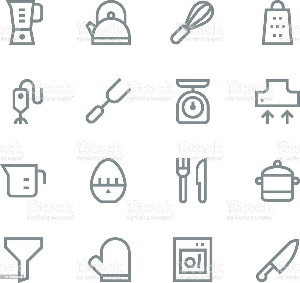 Kitchen utensils icons - line | set 1 vector art illustration