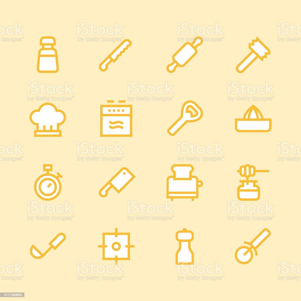 Kitchen utensils icons - line | set 2 - Color Series vector art illustration