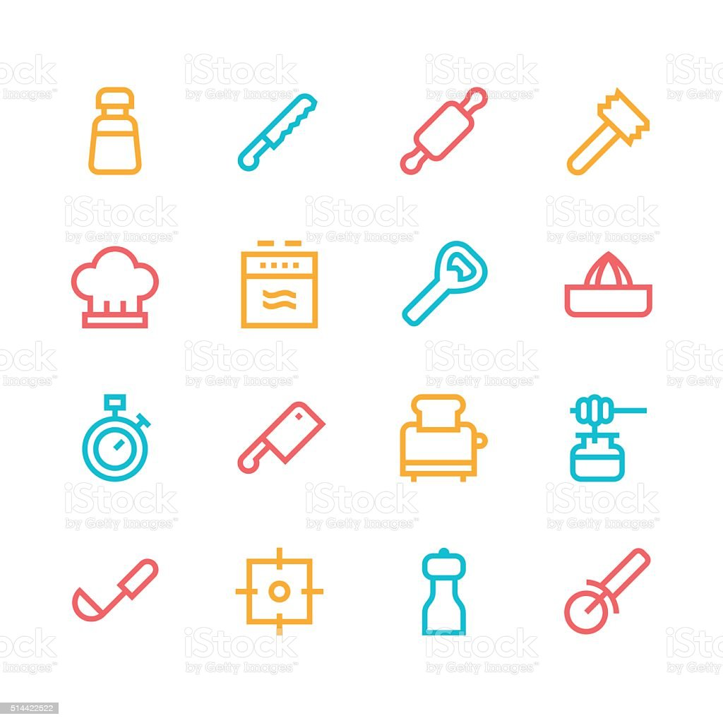 Kitchen utensils icons - line | set 2 - color series vector art illustration