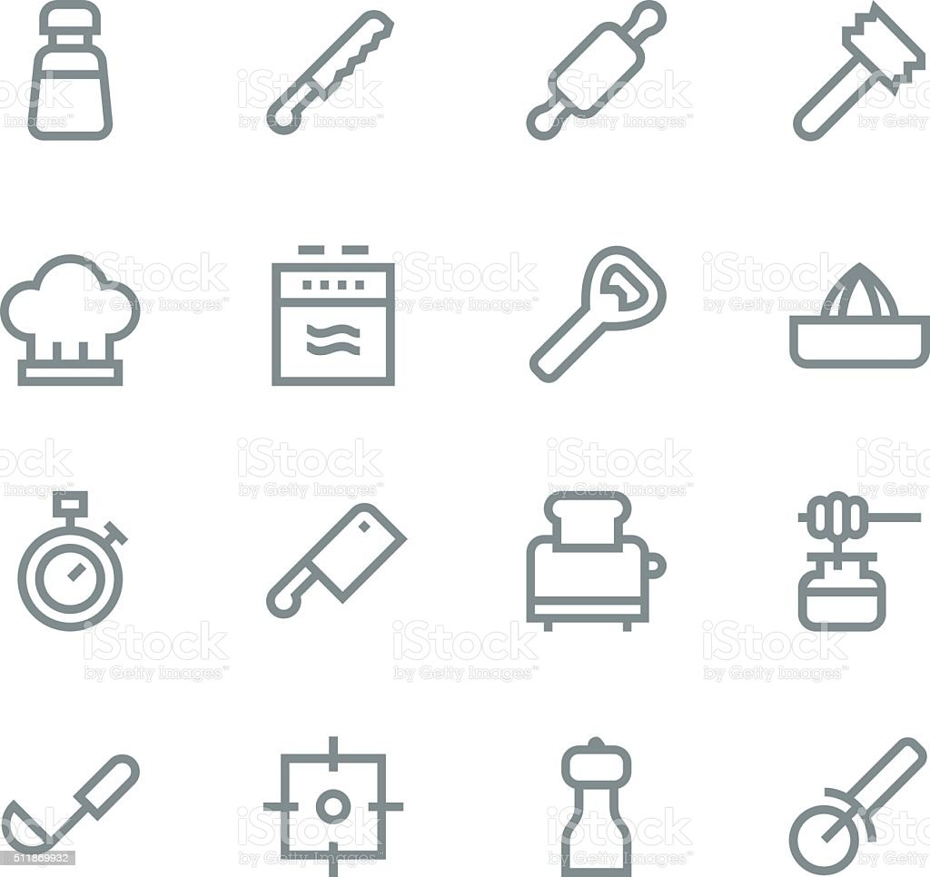 Kitchen utensils icons - line | set 2 vector art illustration