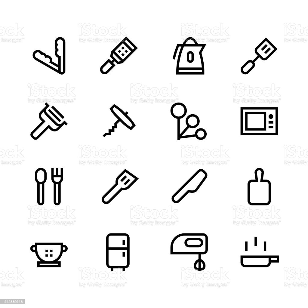Kitchen utensils icons - line   set 3 - black series vector art illustration