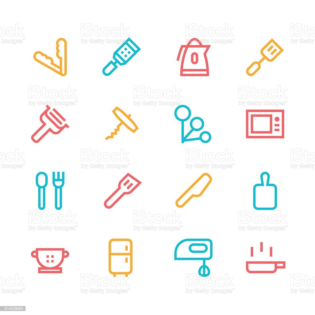 Kitchen utensils icons - line   set 3 - color series vector art illustration
