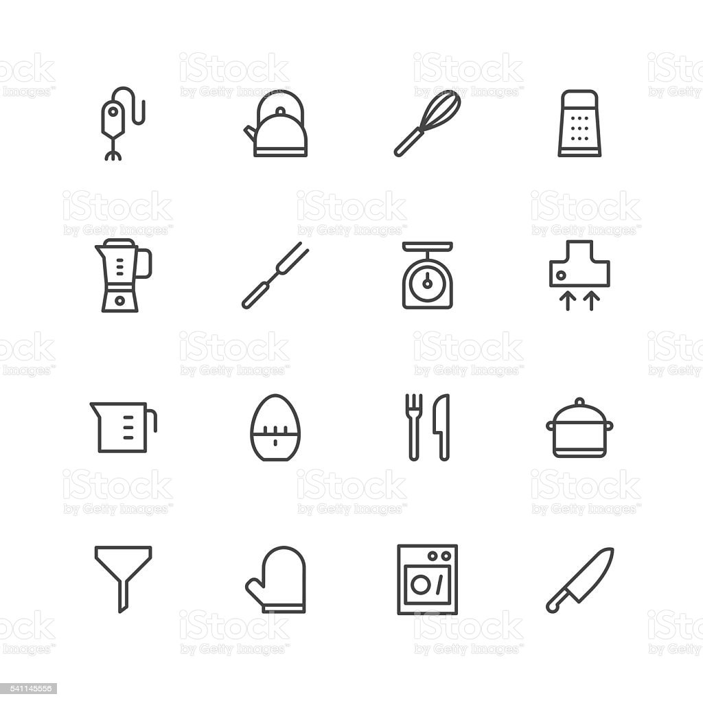 Kitchen utensils icons | set 1 vector art illustration