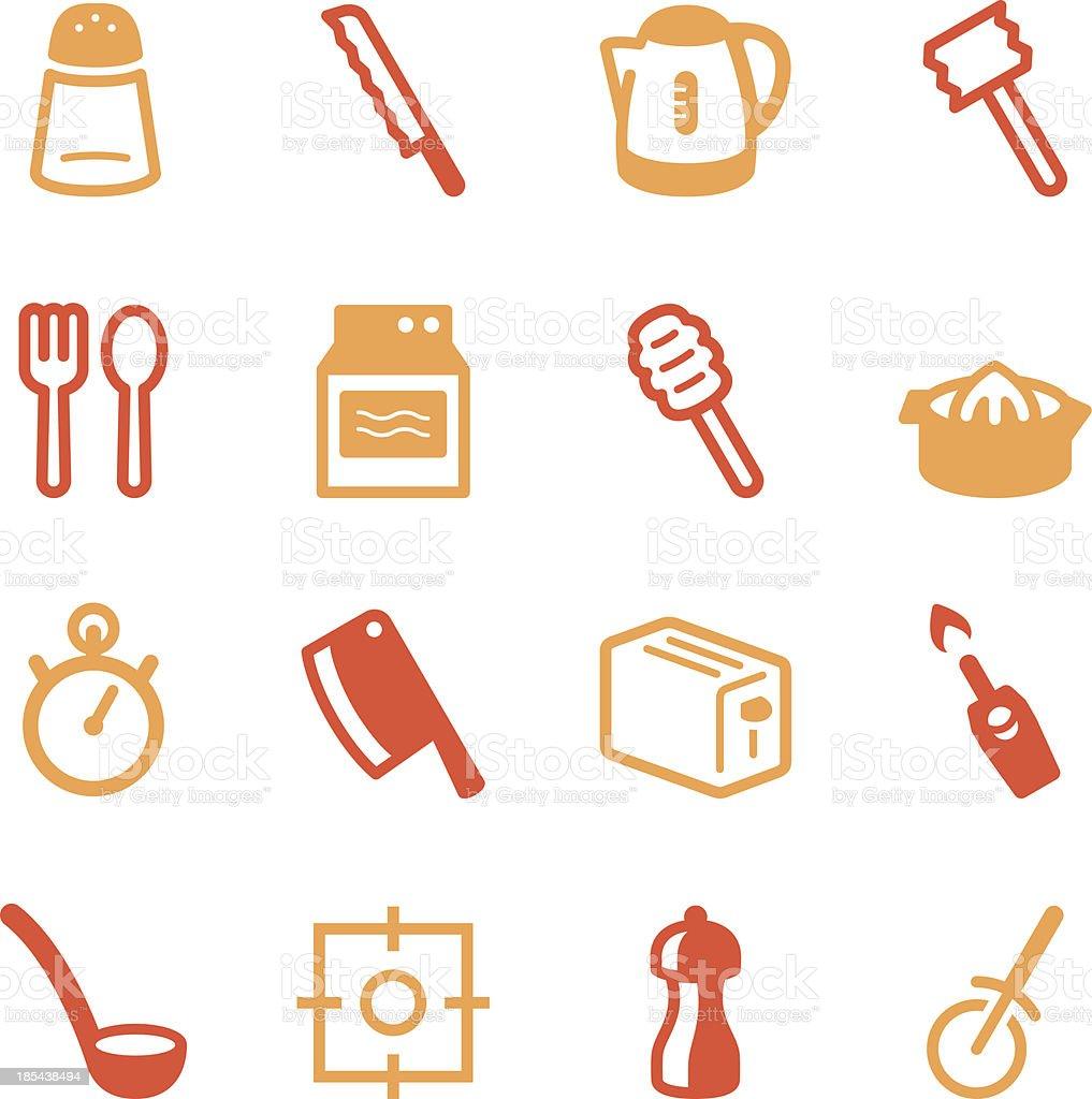Kitchen Utensils Icons | set 2 - Color Series vector art illustration