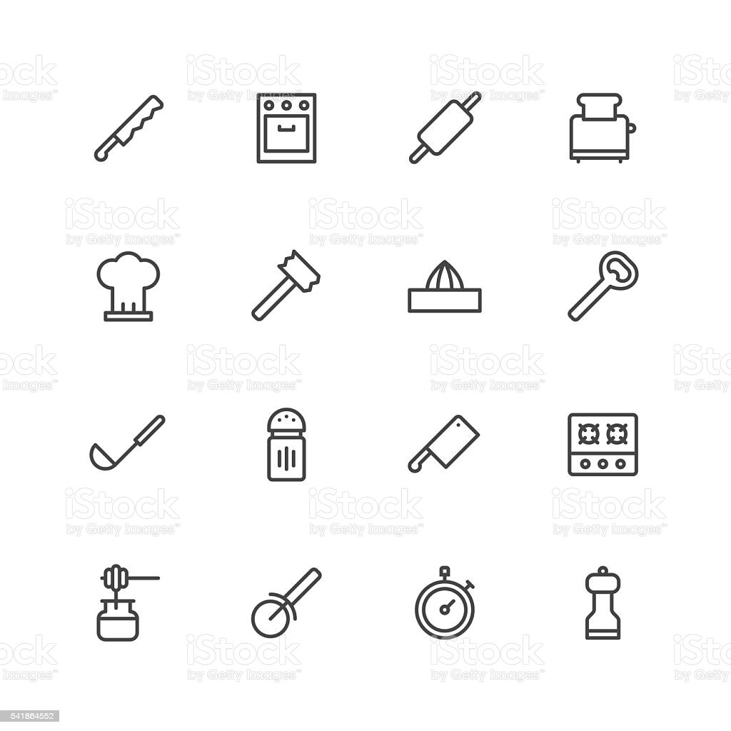 Kitchen utensils icons | set 2 vector art illustration