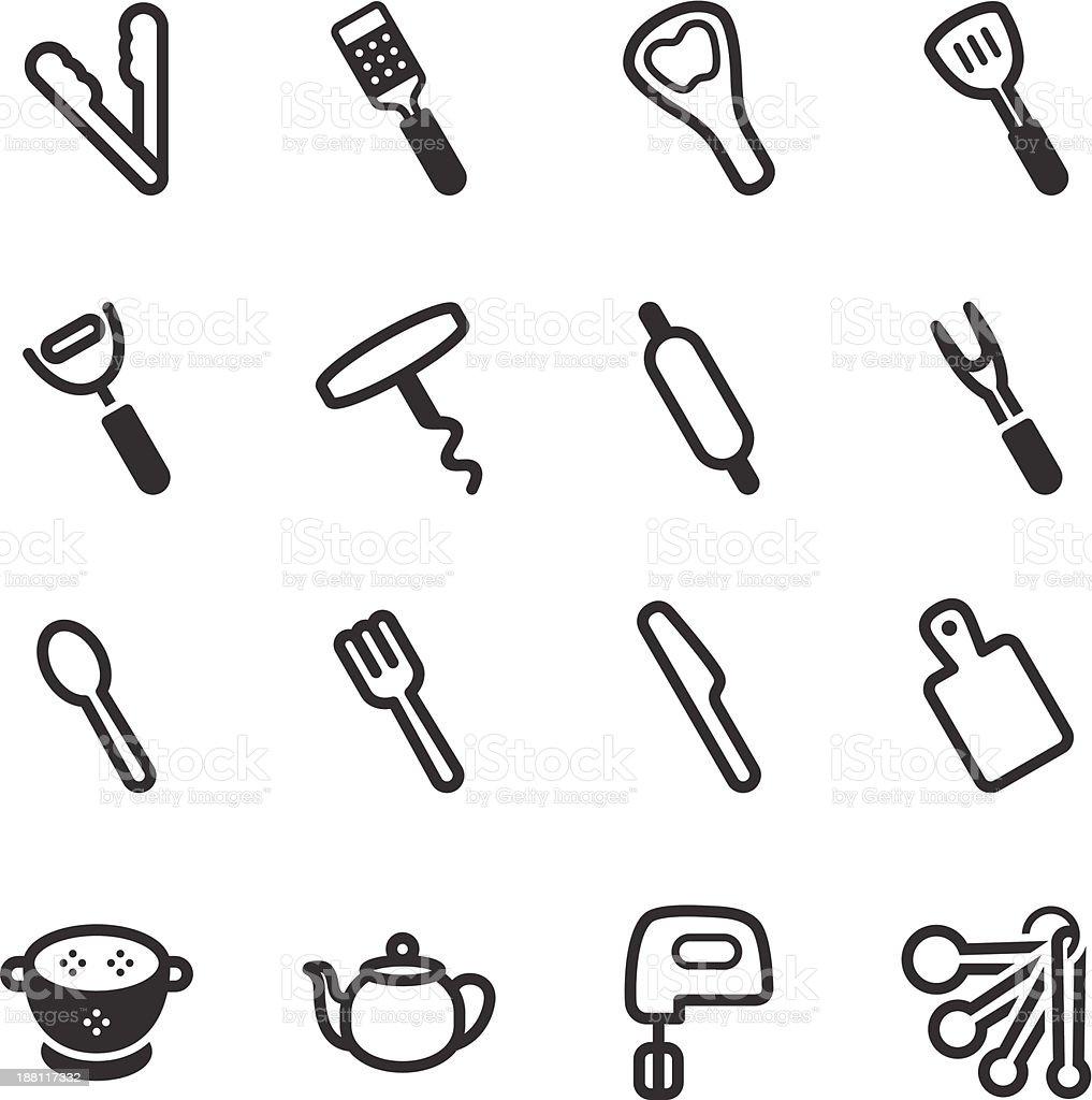 Kitchen Utensils Icons | set 3 royalty-free stock vector art