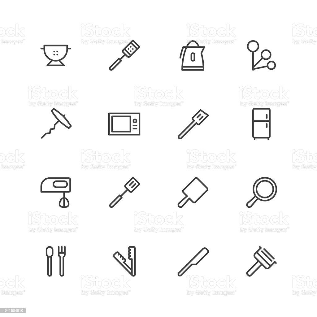 Kitchen utensils icons   set 3 vector art illustration