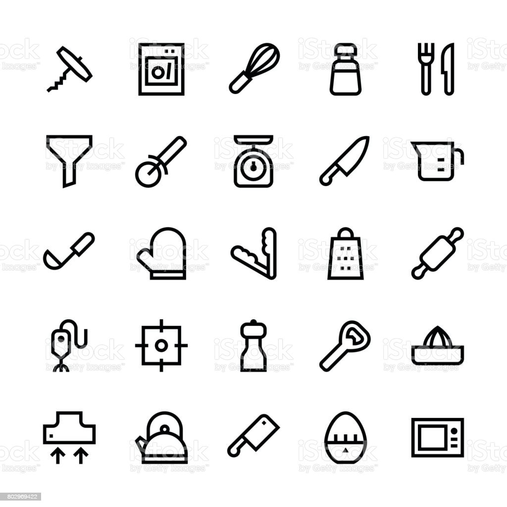 Kitchen utensils icons Set1 - Medium Line vector art illustration