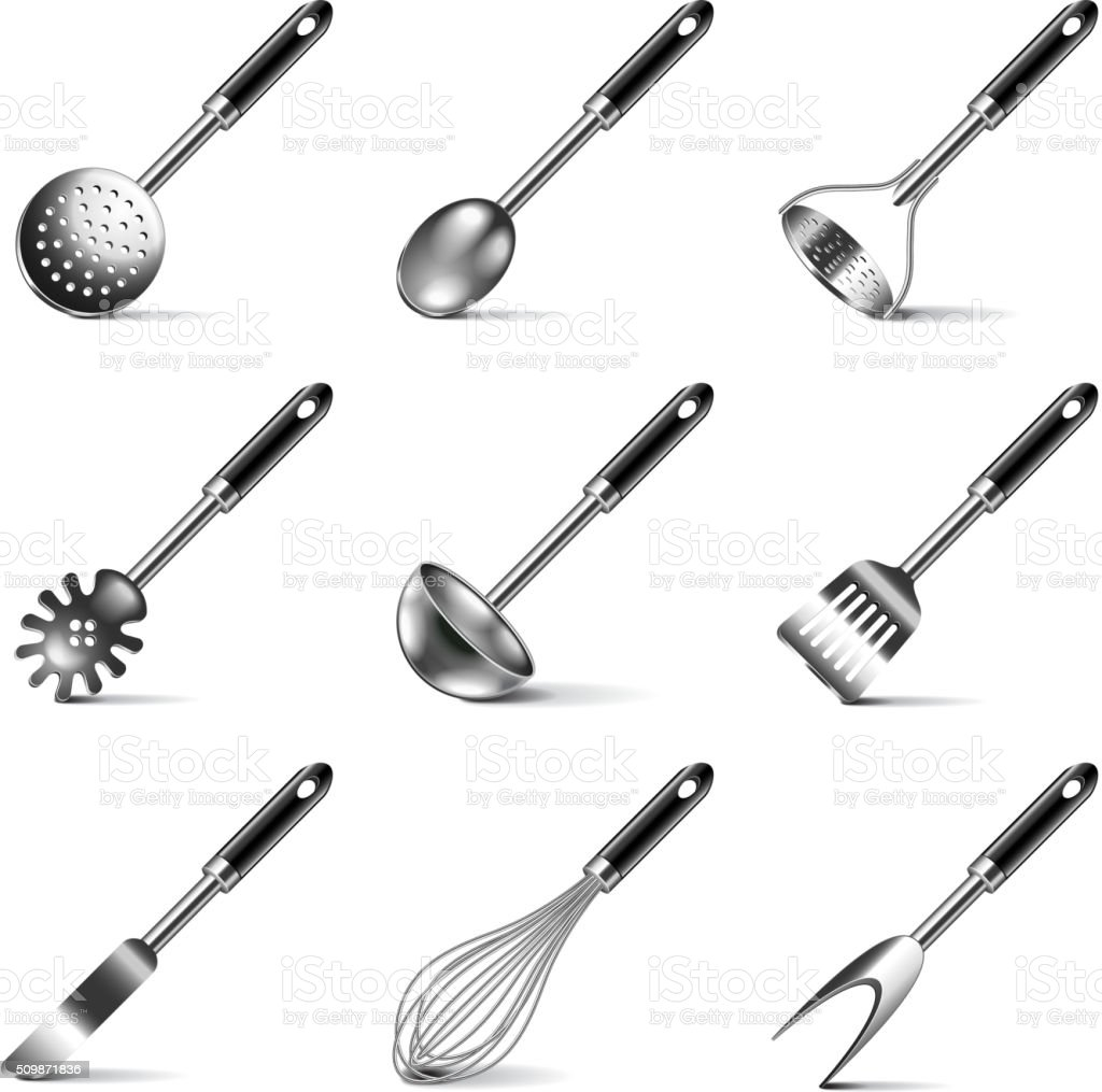 Kitchen utensils icons vector set vector art illustration