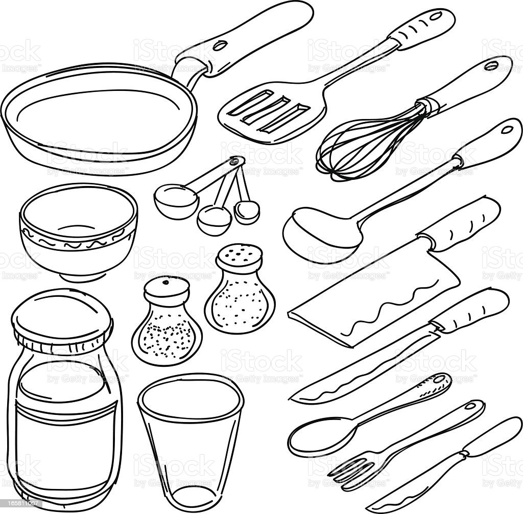 Kitchen utensils in sketch style vector art illustration