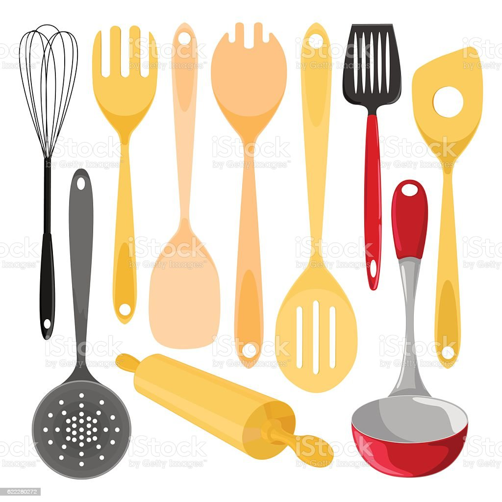 Kitchen utensils. Isolated vector illustration on white background. vector art illustration