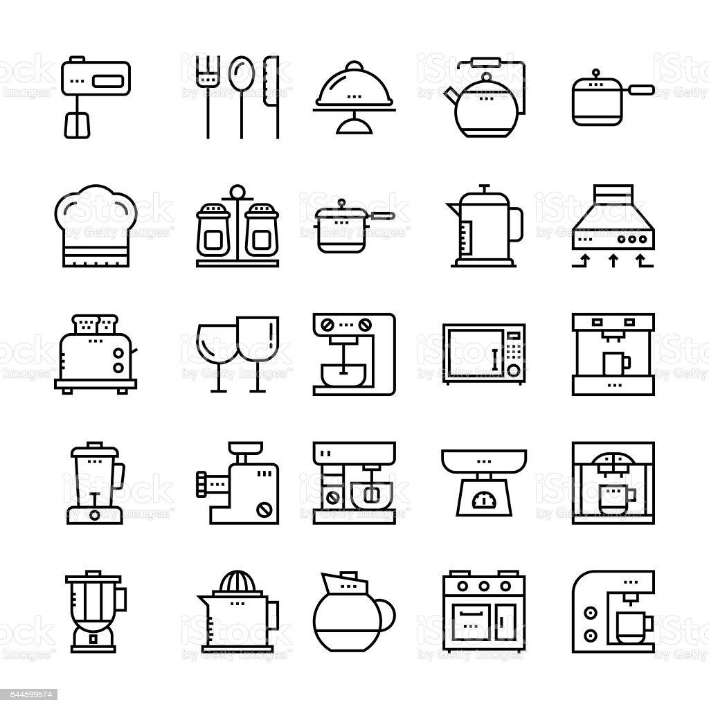 Kitchen Utensils Outline Vector Icons 4 vector art illustration
