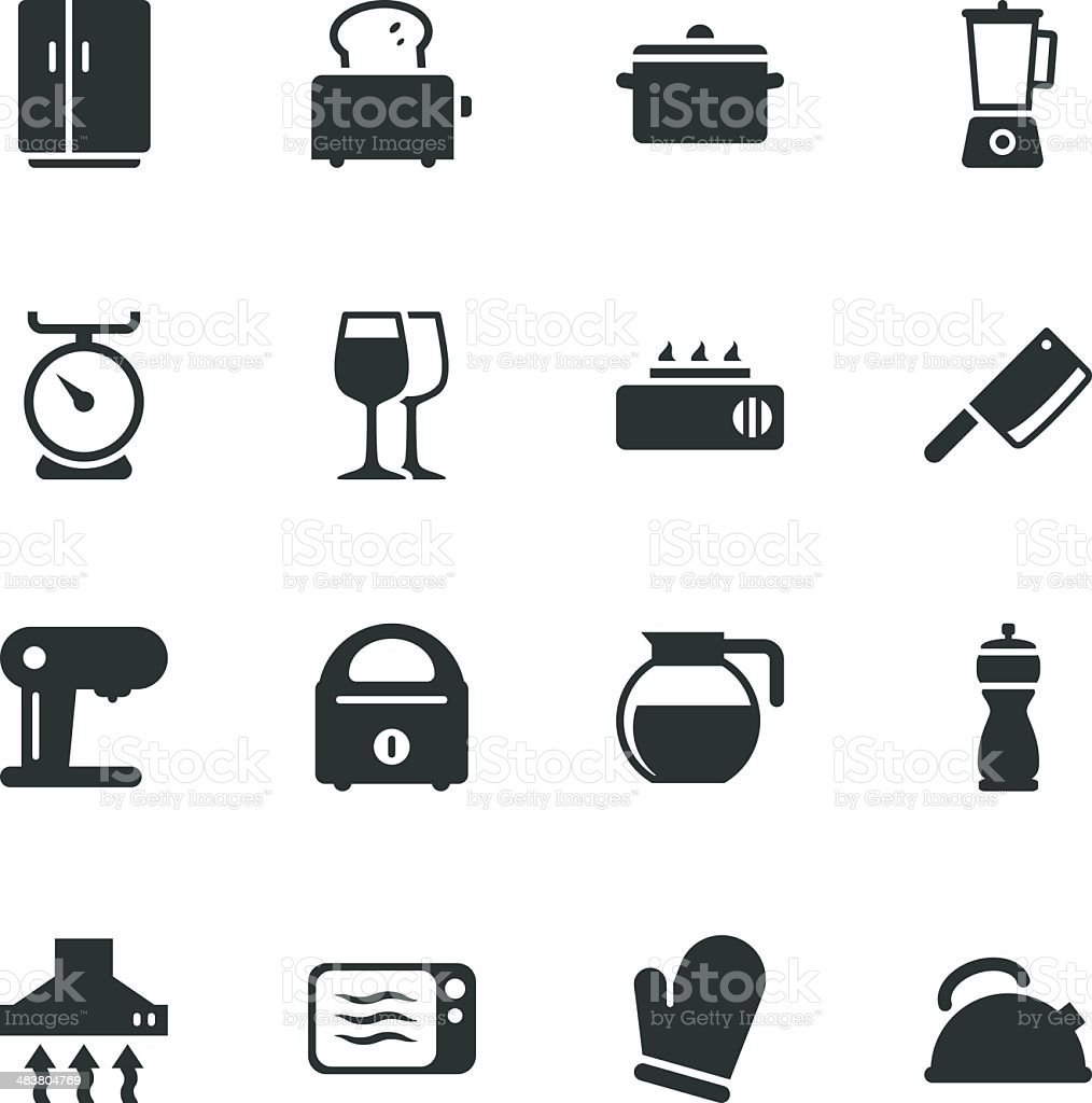Kitchen Utensils Silhouette Icons royalty-free stock vector art