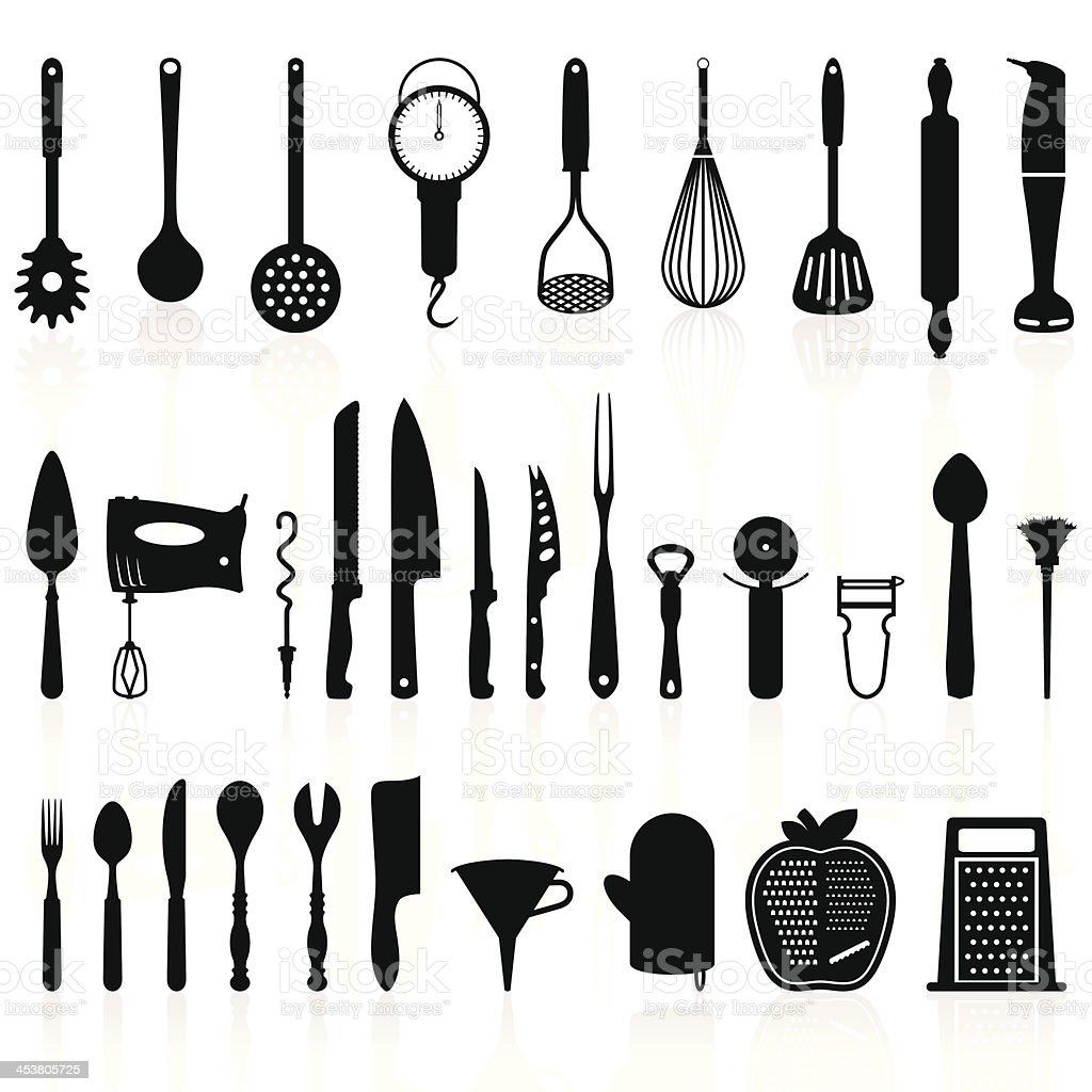 Kitchen Utensils Silhouette Pack 1 - Cooking Tools vector art illustration
