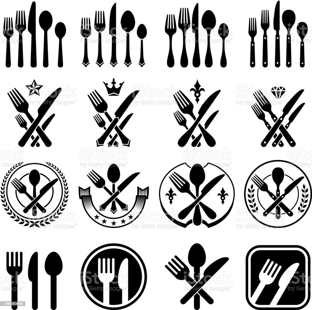Kitchen Utensils silverware forks knifes and spoons vector icon set royalty-free stock vector art