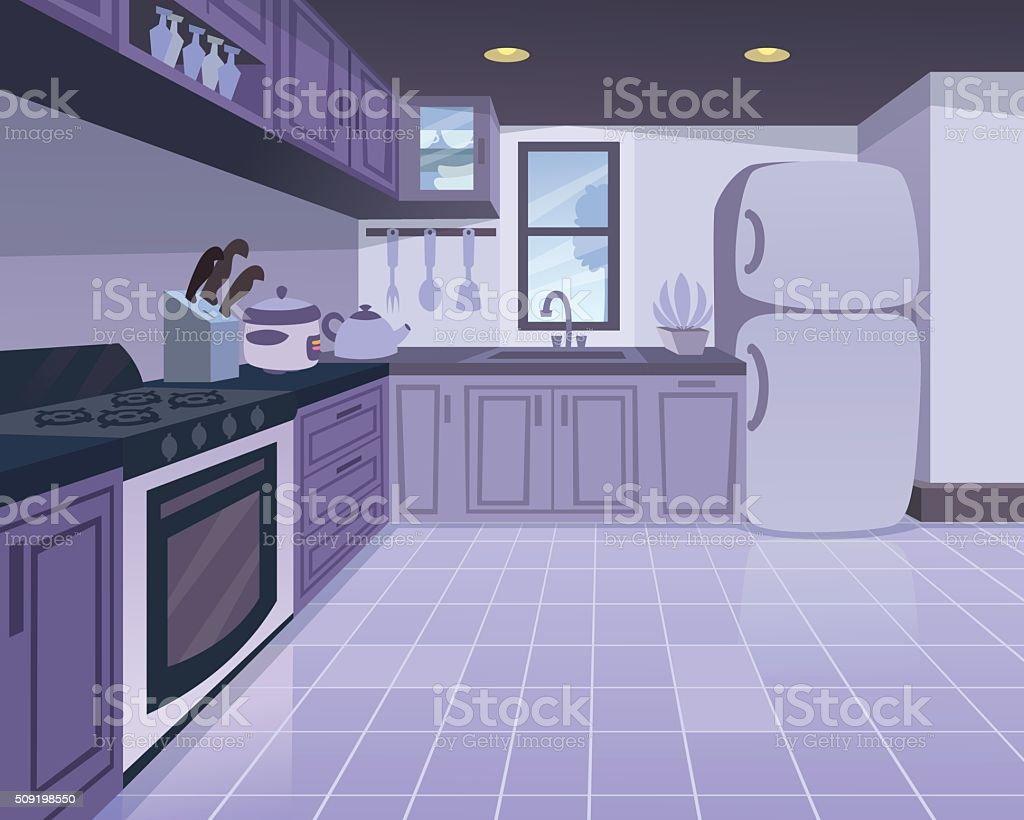 Cartoon kitchen with cabinets and window vector art illustration - Kitchen Royalty Free Stock Vector Art