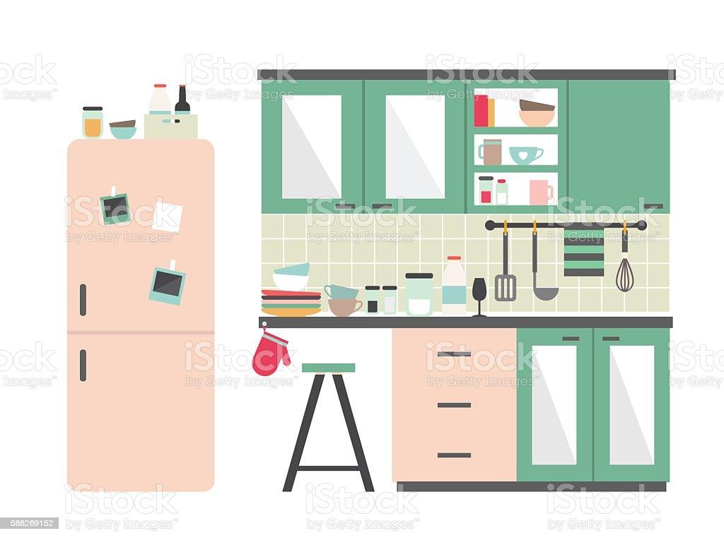 Kitchen vector art illustration