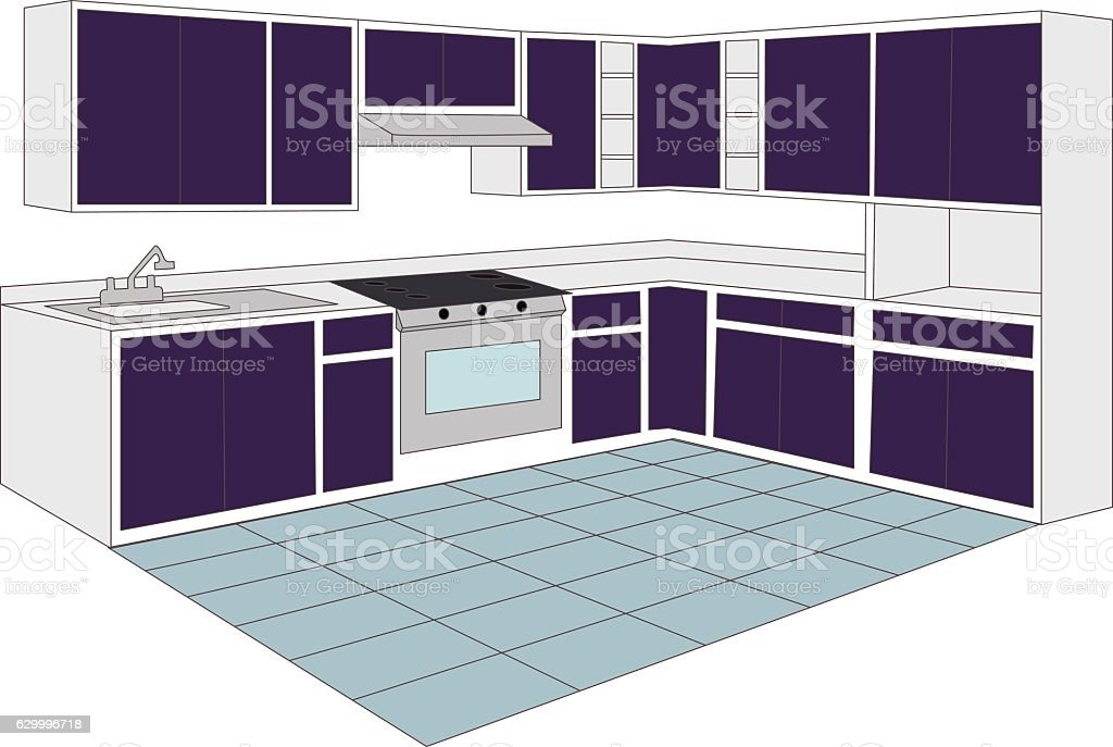kitchen vector art illustration