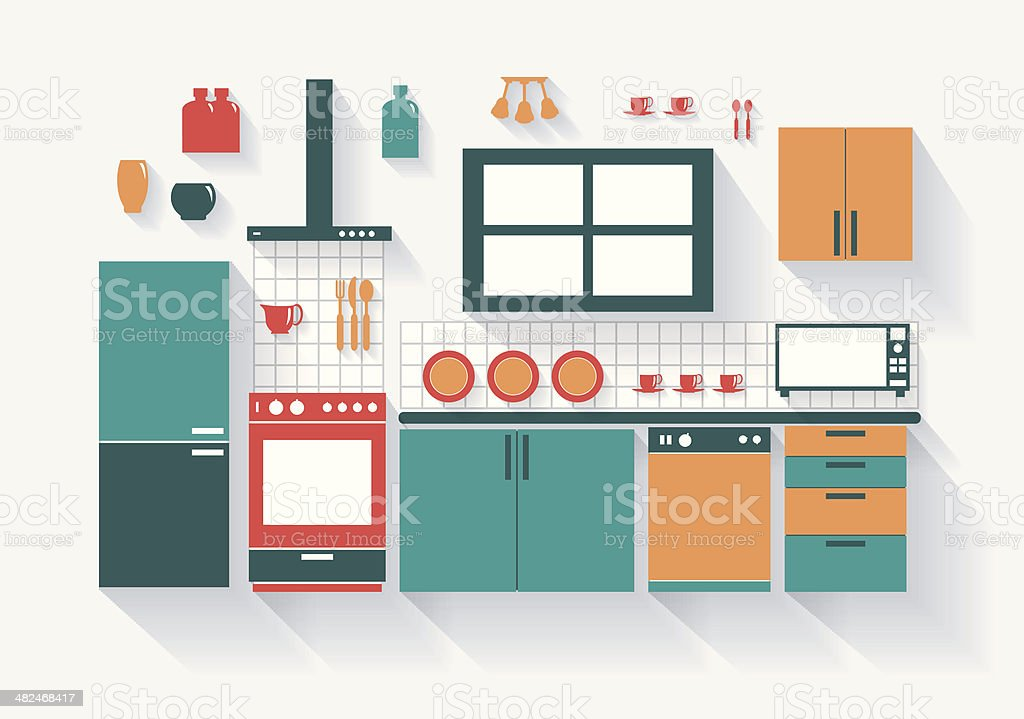 Kitchen with Fridge Stove Dishwasher and Fittings Long Shadows vector art illustration