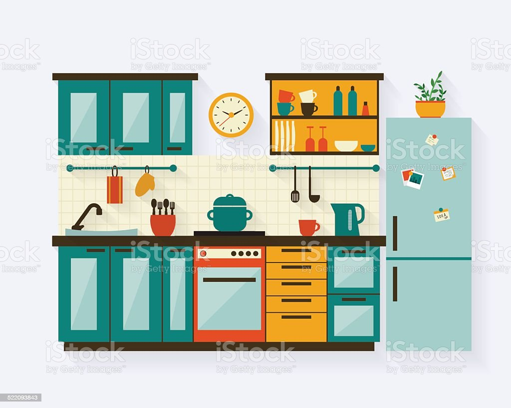 kitchen clip art, vector images & illustrations - istock